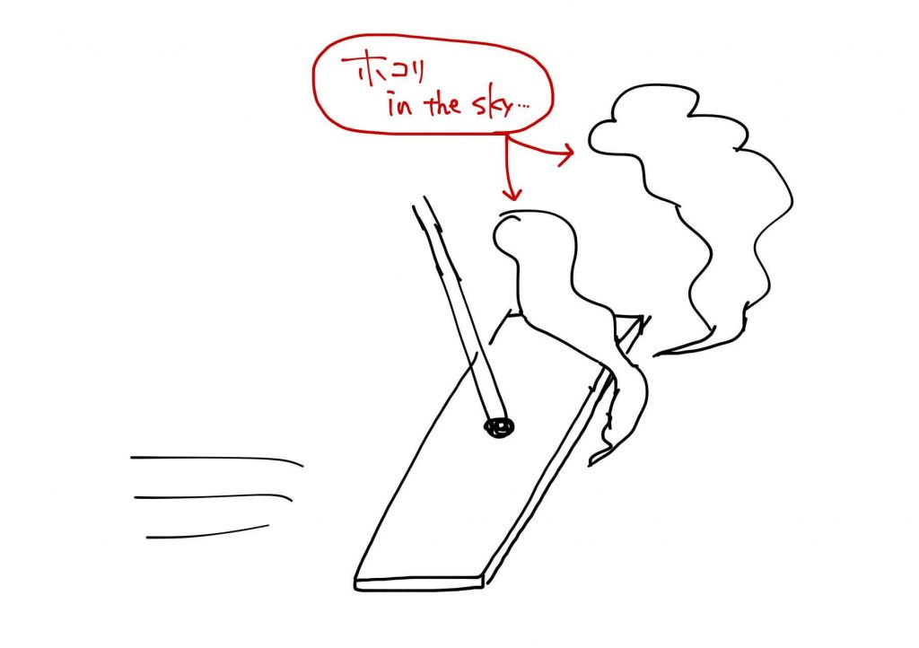 クイックルで取れなかったホコリが空中に舞っているイラスト。